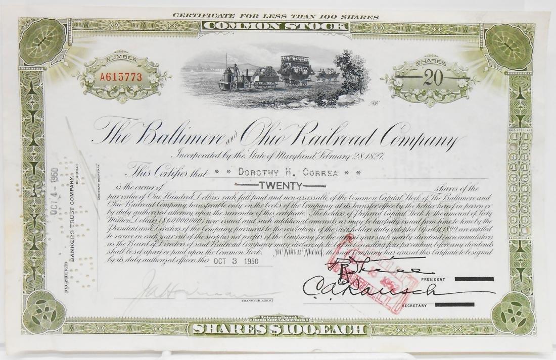 (6) BALTIMORE & B&O STOCK CERTIFICATES - 4