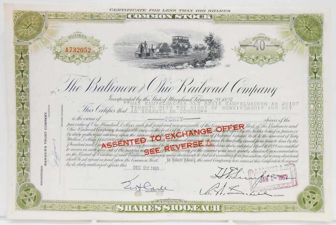 (6) BALTIMORE & B&O STOCK CERTIFICATES - 5