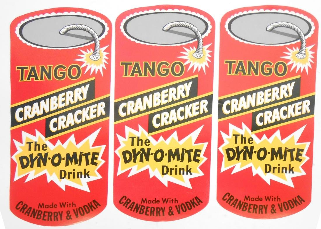 (23) TANGO CRANBERRY CRACKER DIE-CUT ADVERTISING LABELS