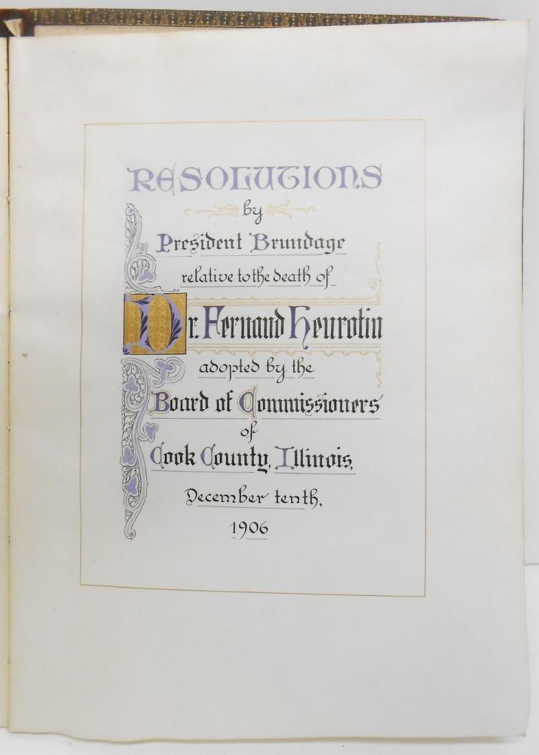1906 CALLIGRAPHIC MEMORIUM BOOK FOR DR. FERNAND - 2