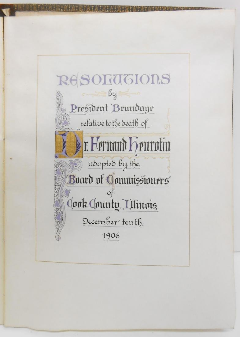 1906 CALLIGRAPHIC MEMORIUM BOOK FOR DR. FERNAND - 2