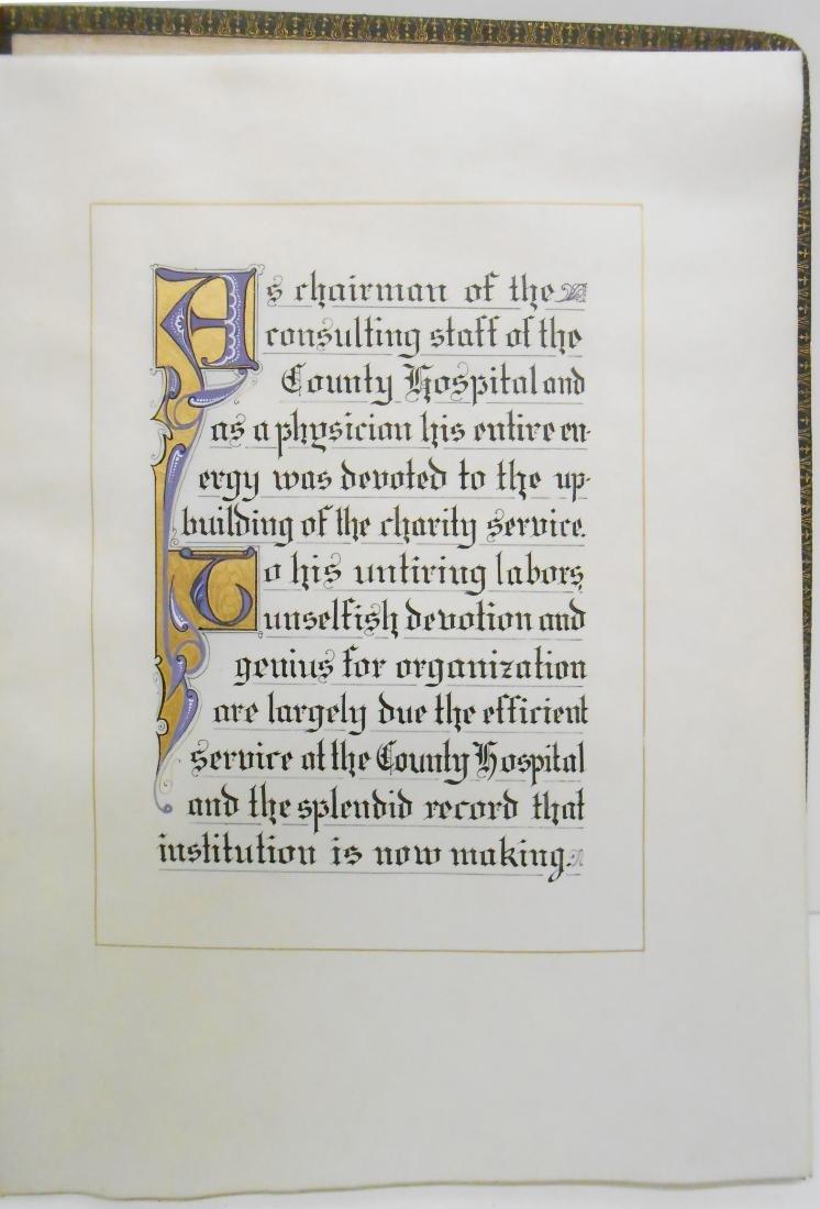 1906 CALLIGRAPHIC MEMORIUM BOOK FOR DR. FERNAND - 3