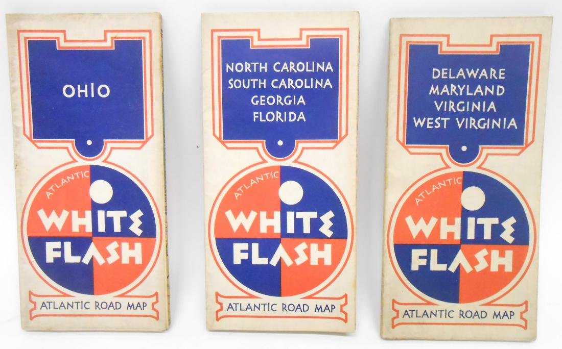 "(3) ATLANTIC OIL ROAD MAPS ""WHITE FLASH"""