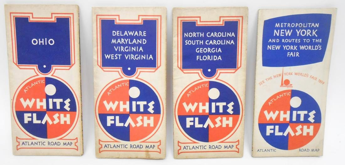 "(4) ATLANTIC OIL ROAD MAPS ""WHITE FLASH"""