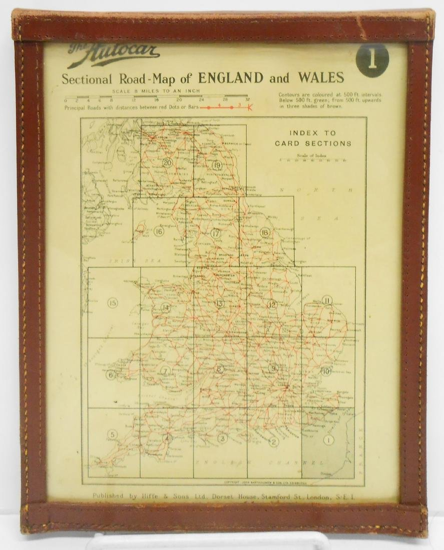 THE AUTOCAR SECTIONAL ROAD MAP of ENGLAND & WALES