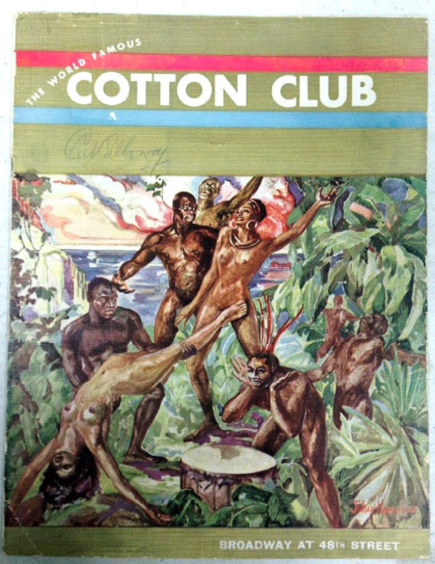 COTTON CLUB MENU - SIGNED BY CAB CALLOWAY