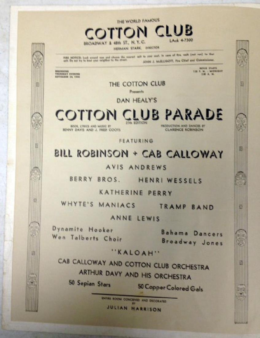 COTTON CLUB MENU - SIGNED BY CAB CALLOWAY - 7