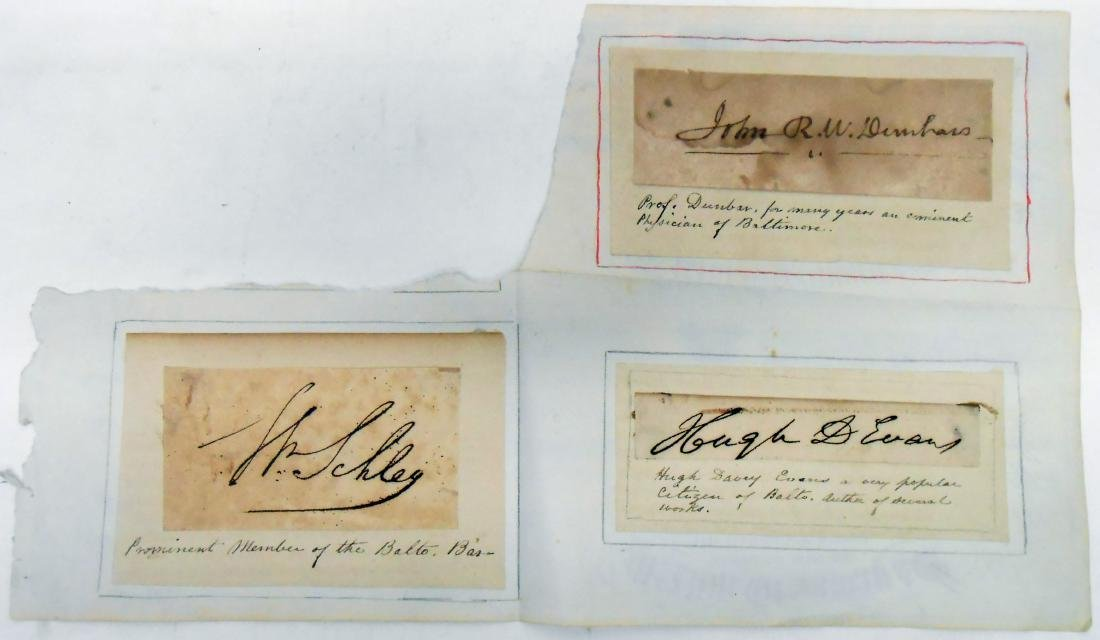 SELECTION OF FAMOUS BALTIMORE SIGNATURES circa 1800