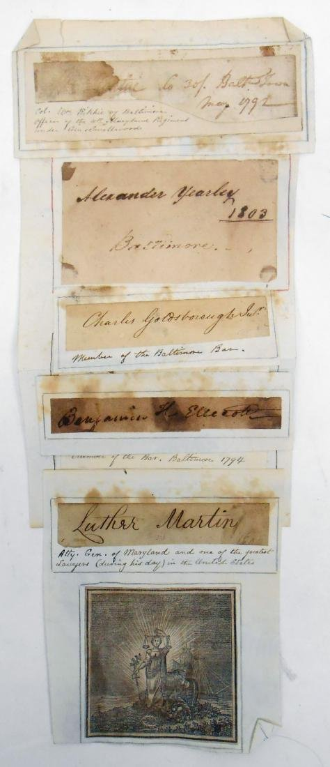 SELECTION OF FAMOUS BALTIMORE SIGNATURES circa 1800 - 3