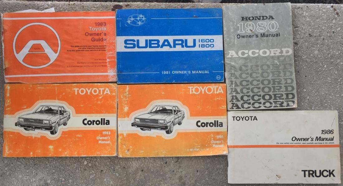LOT OF 1980'S CAR MANUALS:  SUBARU, HONDA, TOYOTA, ETC