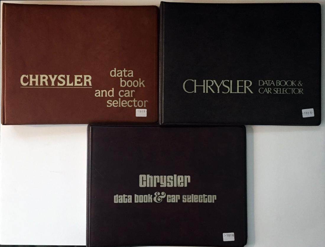 (3) CHRYSLER DATA BOOK & CAR SELECTOR BINDERS 1970'S