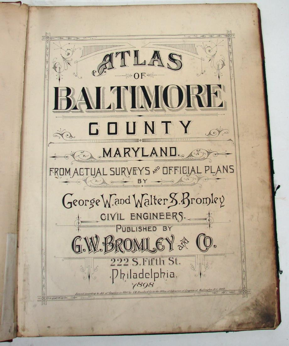 ATLAS OF BALTIMORE COUNTY MARYLAND-BROMLEY, 1898 - 3