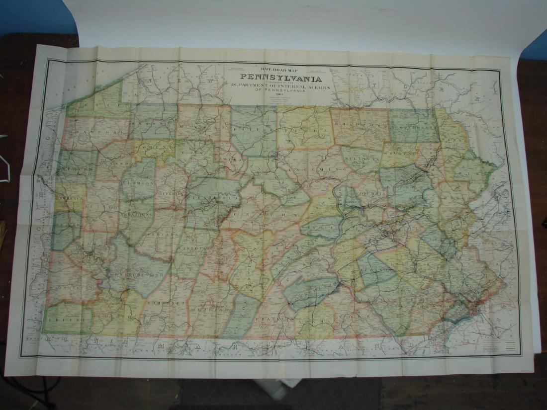 RAILROAD MAP OF PENNSYLVANIA, 1904 - 3