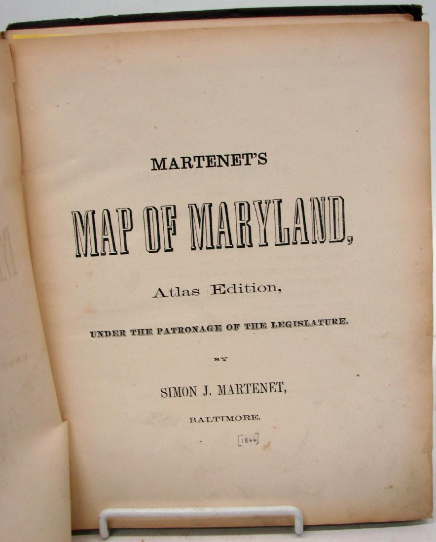 MARTINET'S MAP OF MARYLAND-ATLAS EDITION 1866 - 2