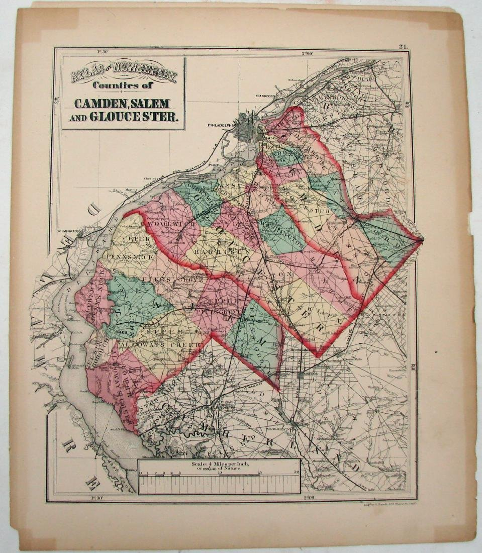 (3) NEW JERSEY MAPS & (1) NEW YORK MAP, LATE 1800'S
