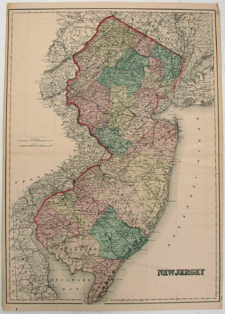 (3) NEW JERSEY MAPS & (1) NEW YORK MAP, LATE 1800'S - 2