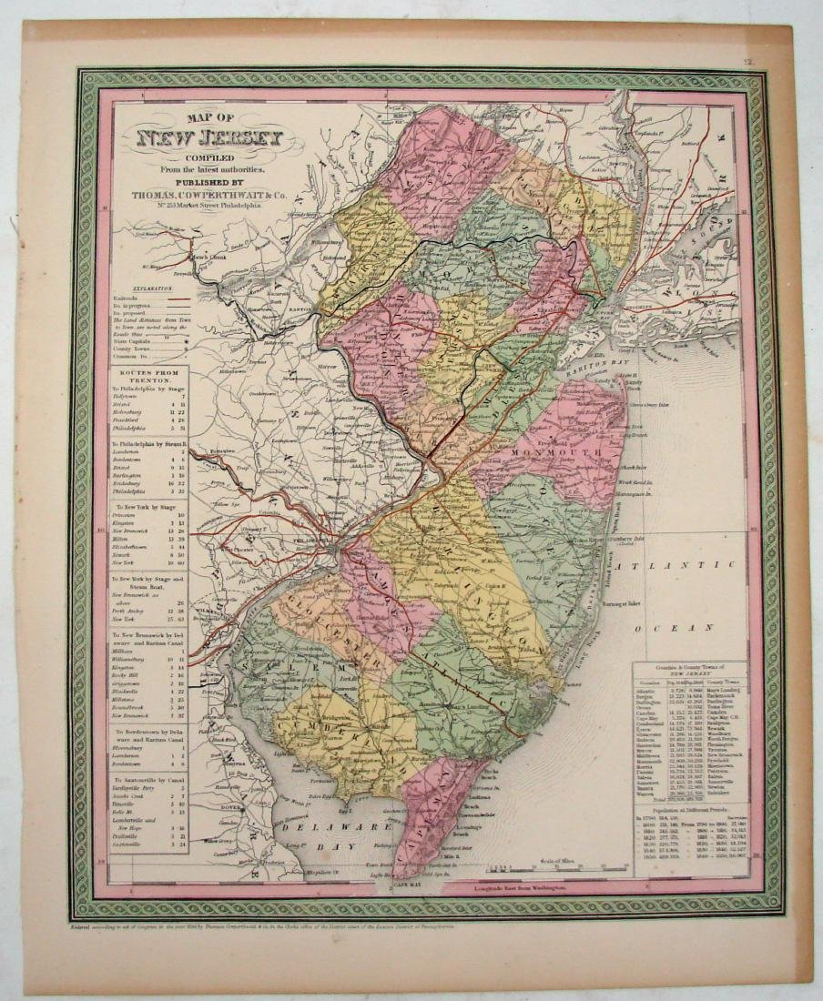 (2) 1850 COLORED  MAPS: MARYLAND /DE & NEW JERSEY
