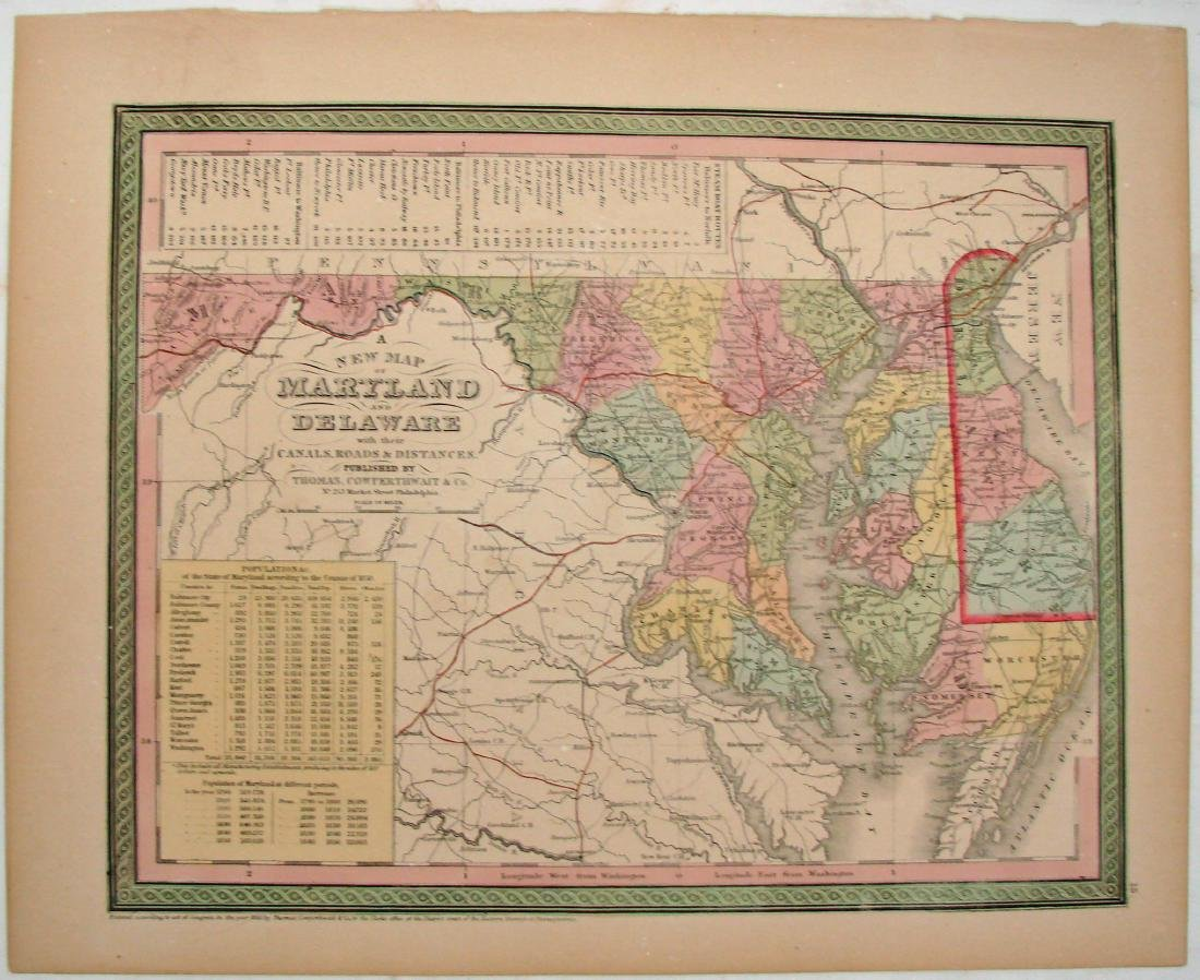 (2) 1850 COLORED  MAPS: MARYLAND /DE & NEW JERSEY - 2