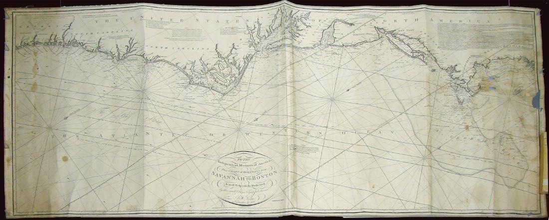 MARINER'S CHART SAVANNAH TO BOSTON - NORIE, 1836