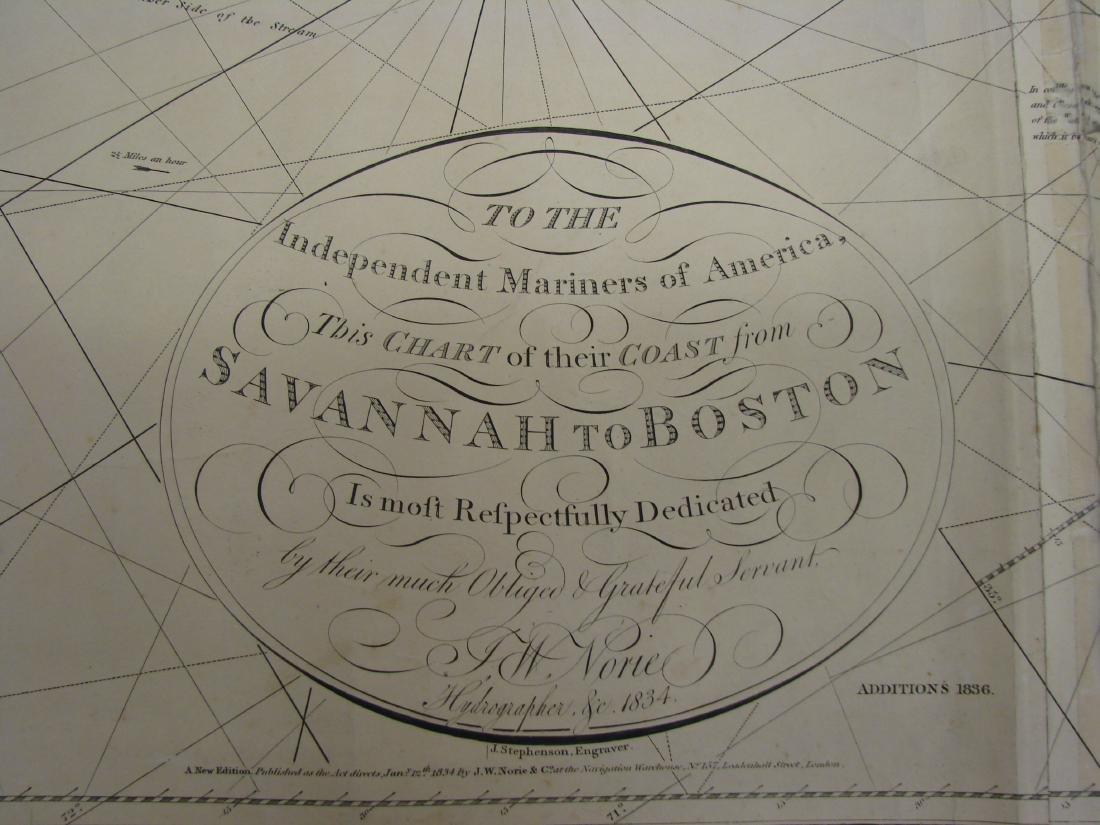 MARINER'S CHART SAVANNAH TO BOSTON - NORIE, 1836 - 2