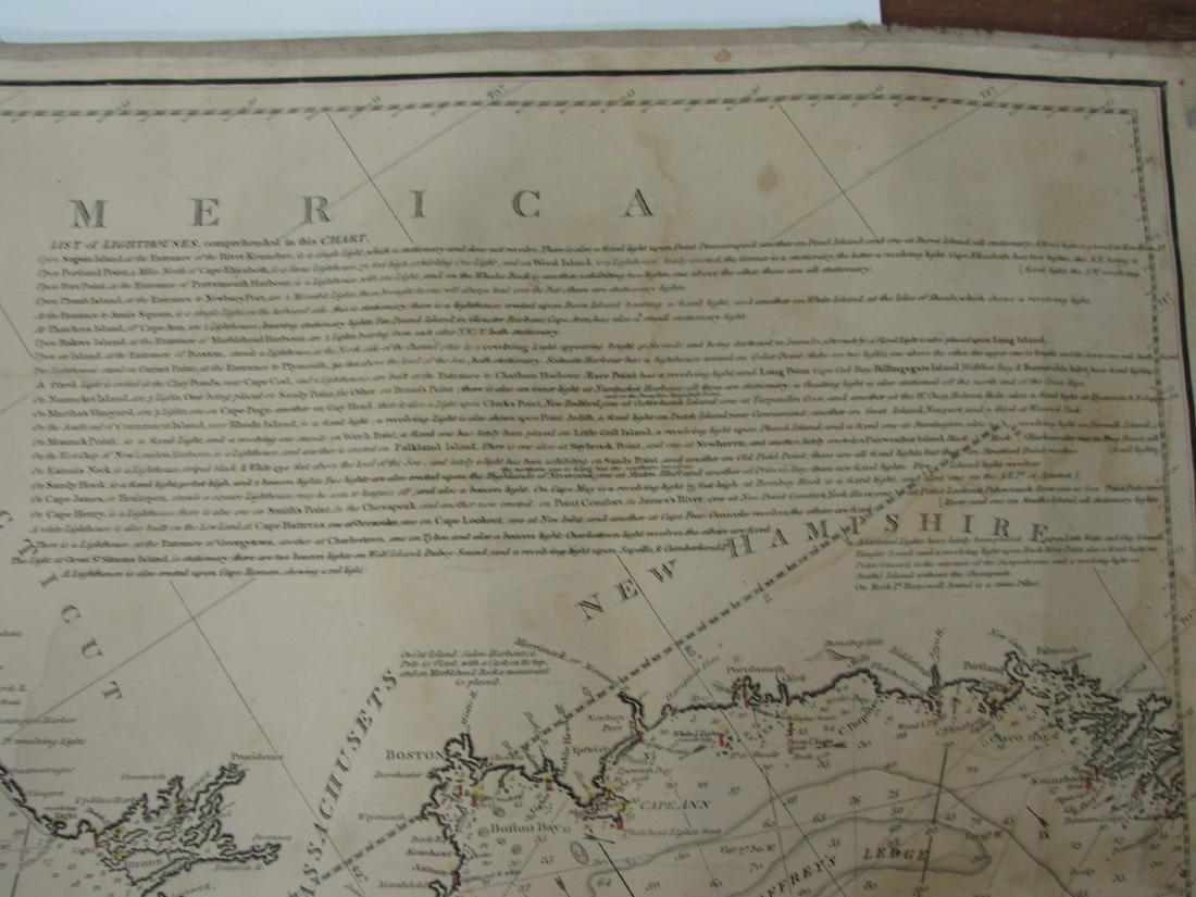 MARINER'S CHART SAVANNAH TO BOSTON - NORIE, 1836 - 3