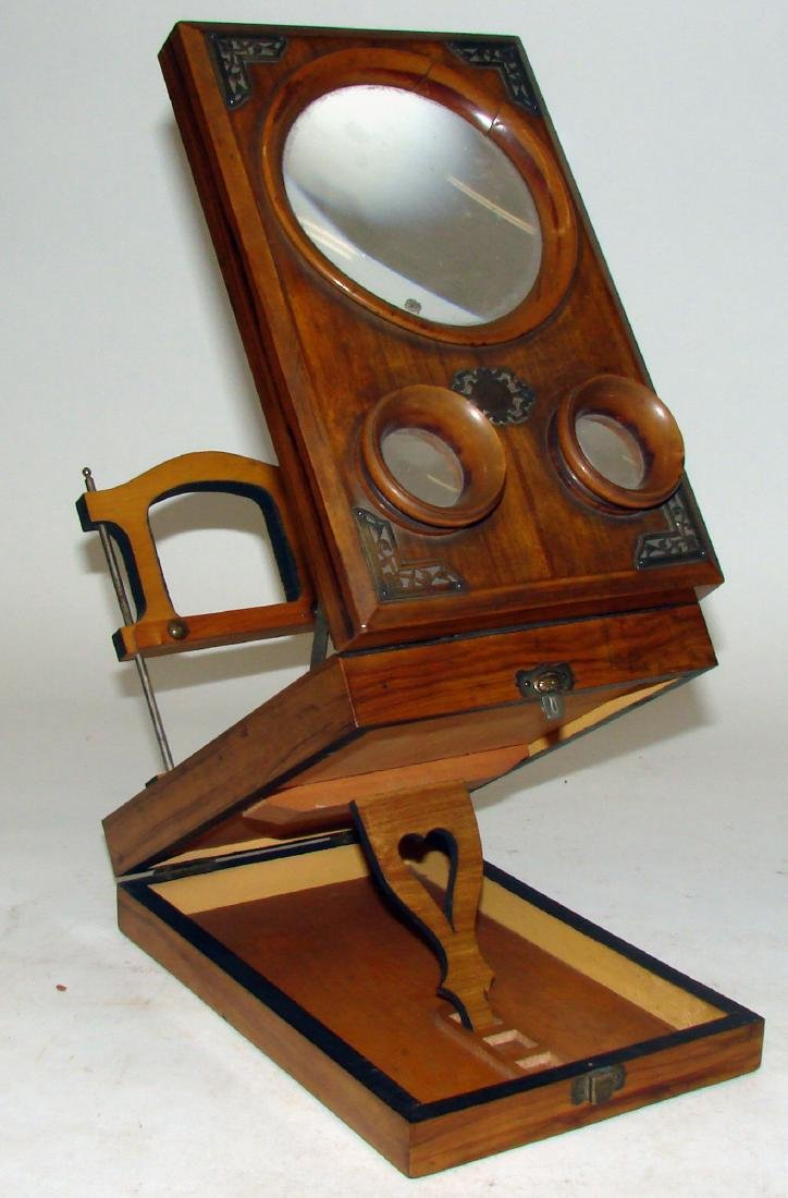 TABLE-TOP FOLDING WOOD  STEREOSCOPE - 5