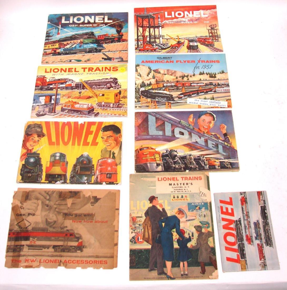 (9) 1950's LIONEL  & AMERICAN FLYER TRAIN CATALOGS &