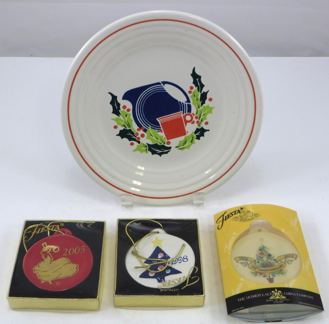 P86 FIESTA CHRISTMAS PLATE & (3) ORNAMENTS