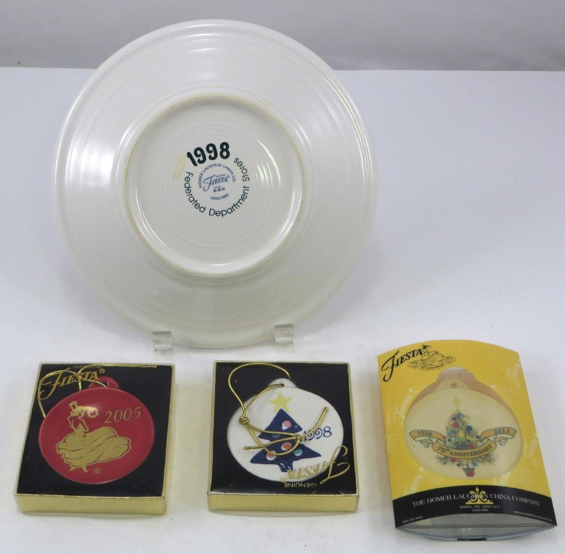 P86 FIESTA CHRISTMAS PLATE & (3) ORNAMENTS - 2