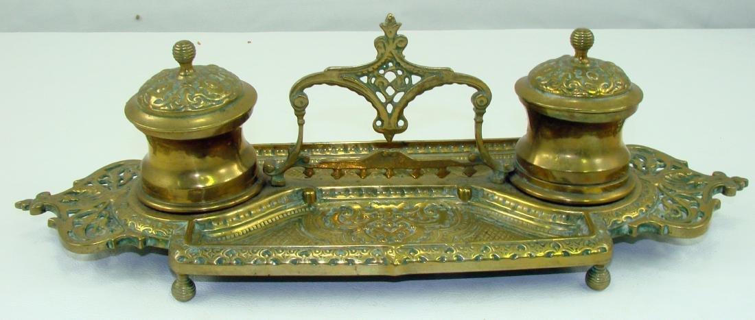 BRASS INKWELL WITH HANDLE