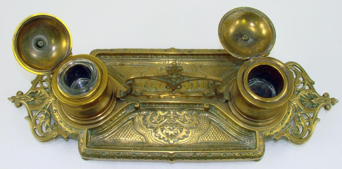 BRASS INKWELL WITH HANDLE - 2