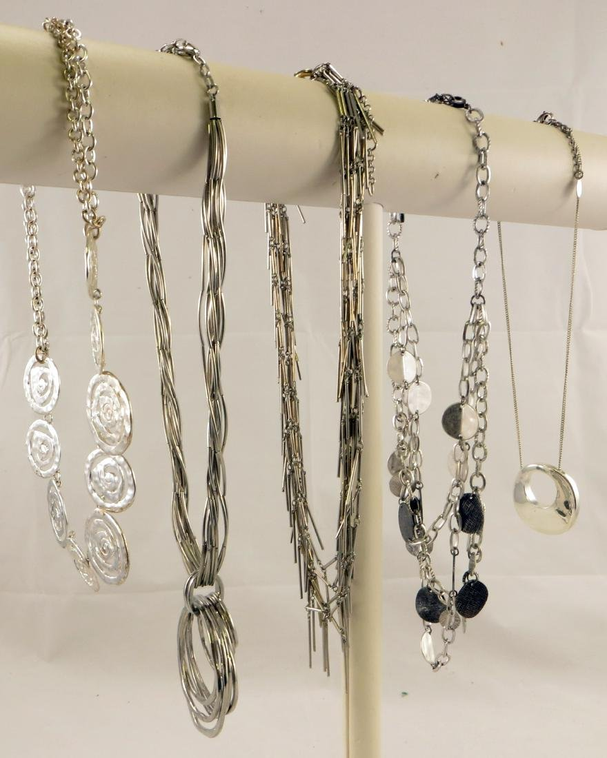 (5) SILVERTONE NECKLACES