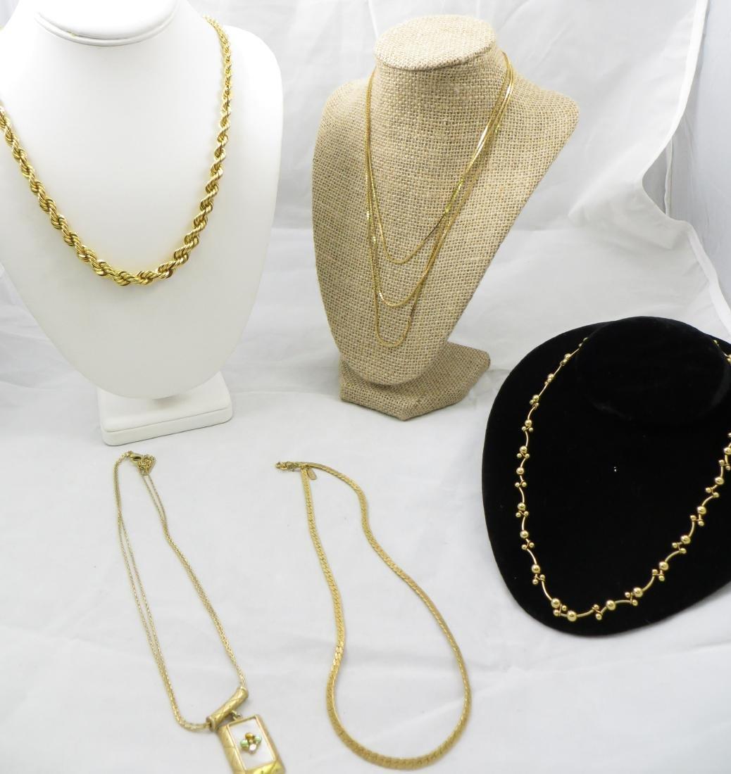 (5) COSTUME GOLDTONE NECKLACES