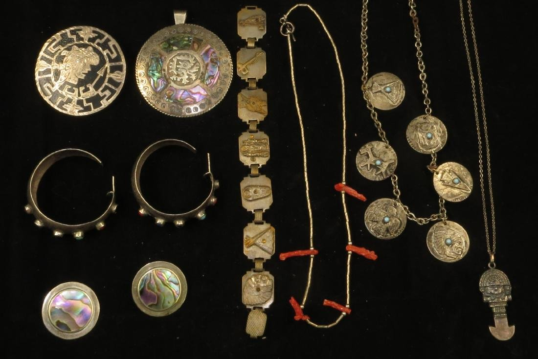 (8) PIECES MEXICAN STERLING & INDIAN SILVERTONE JEWELRY