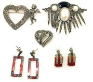 5 PIECES STERLING  MARCASITE JEWELRY