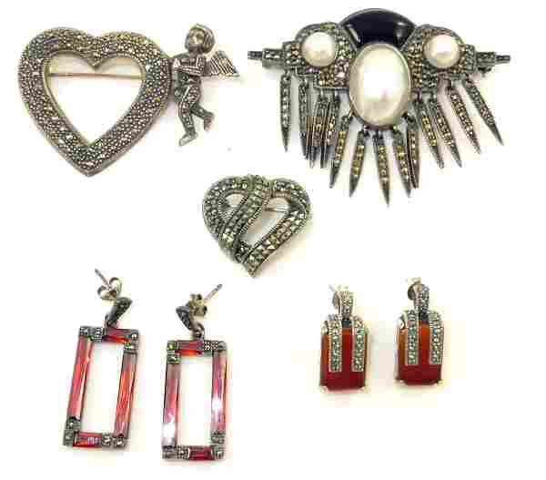 (5) PIECES STERLING & MARCASITE JEWELRY