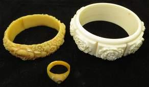 (3) PCS. VINTAGE COSTUME BANGLES & RINGS