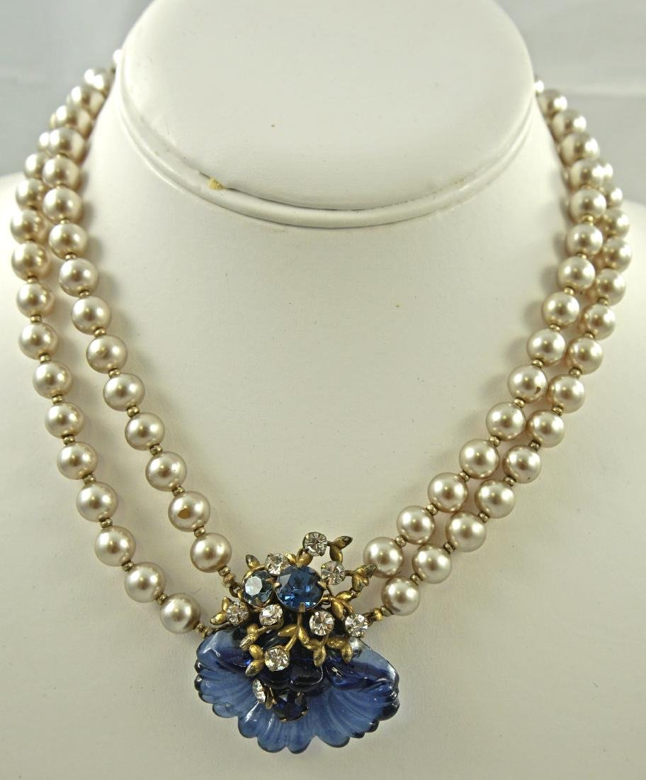 EARLY MIRIAM HASKELL PEARL & BLUE GLASS CHOKER