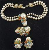 EARLY MIRIAM HASKELL DEMI PARURE COSTUME SET