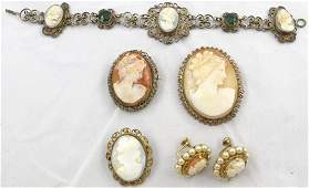 5 VINTAGE CAMEO PCS COSTUME JEWERLY