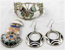 (3) PCS. VINTAGE MEXICAN SILVER JEWELRY