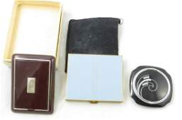 3 ENAMELED ART DECO COMPACTS