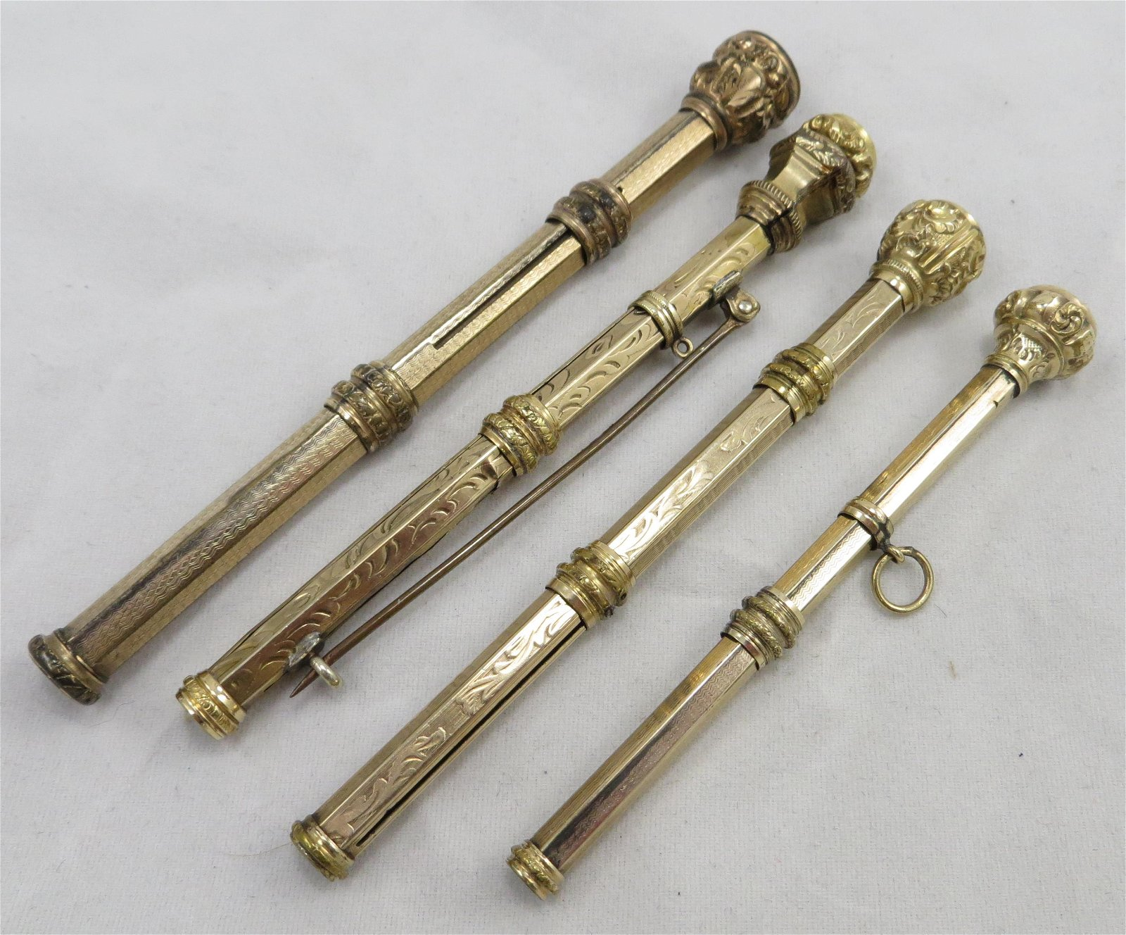 (4) LADIES VICTORIAN JEWEL-TOP PENS/PENCILS