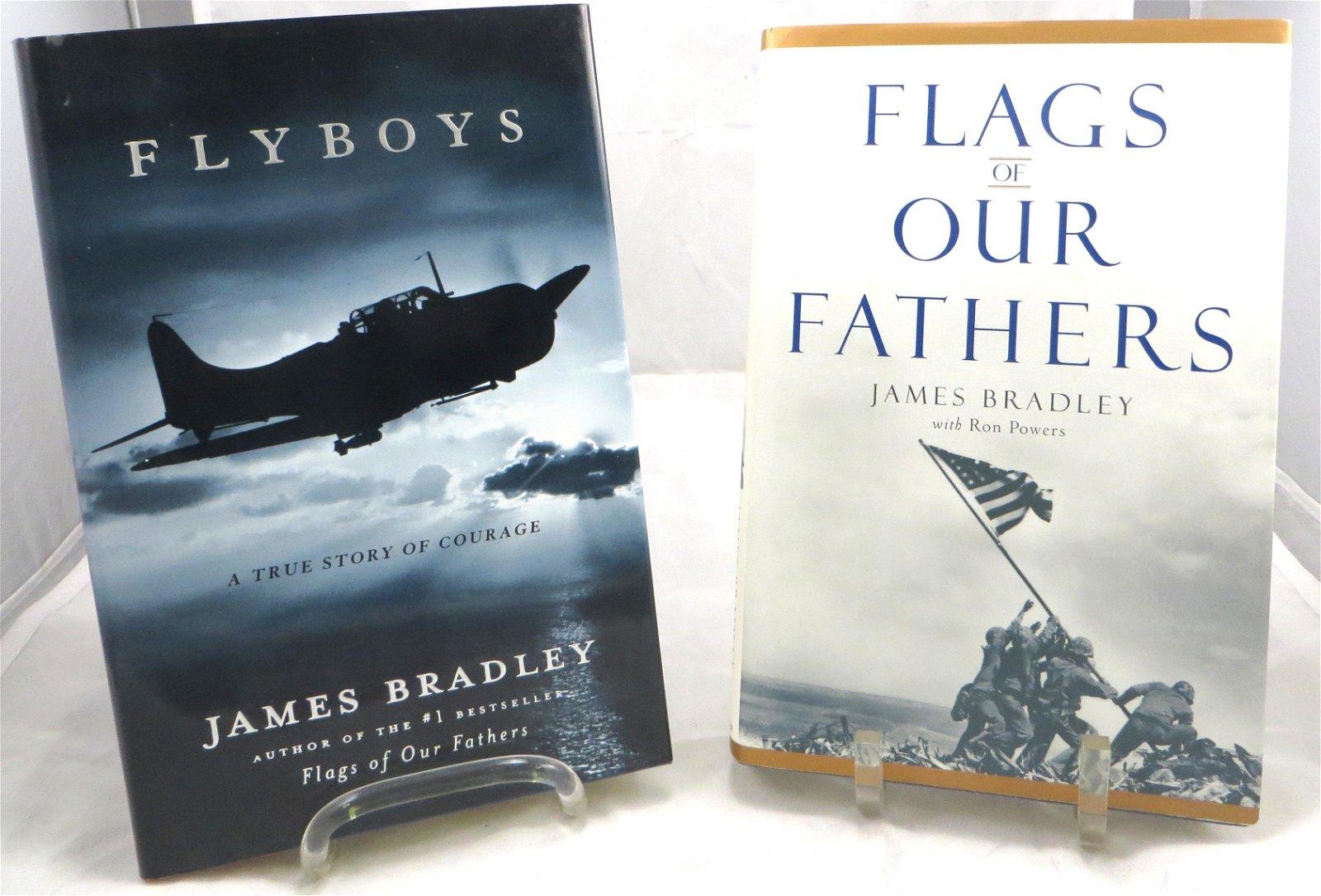 (2) SIGNED JAMES BRADLEY WWII THEME BOOKS