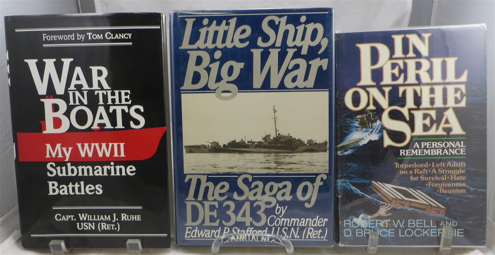(3) SIGNED WW2 NAVAL THEME BOOKS:  STAFFORD, RUHE, BELL