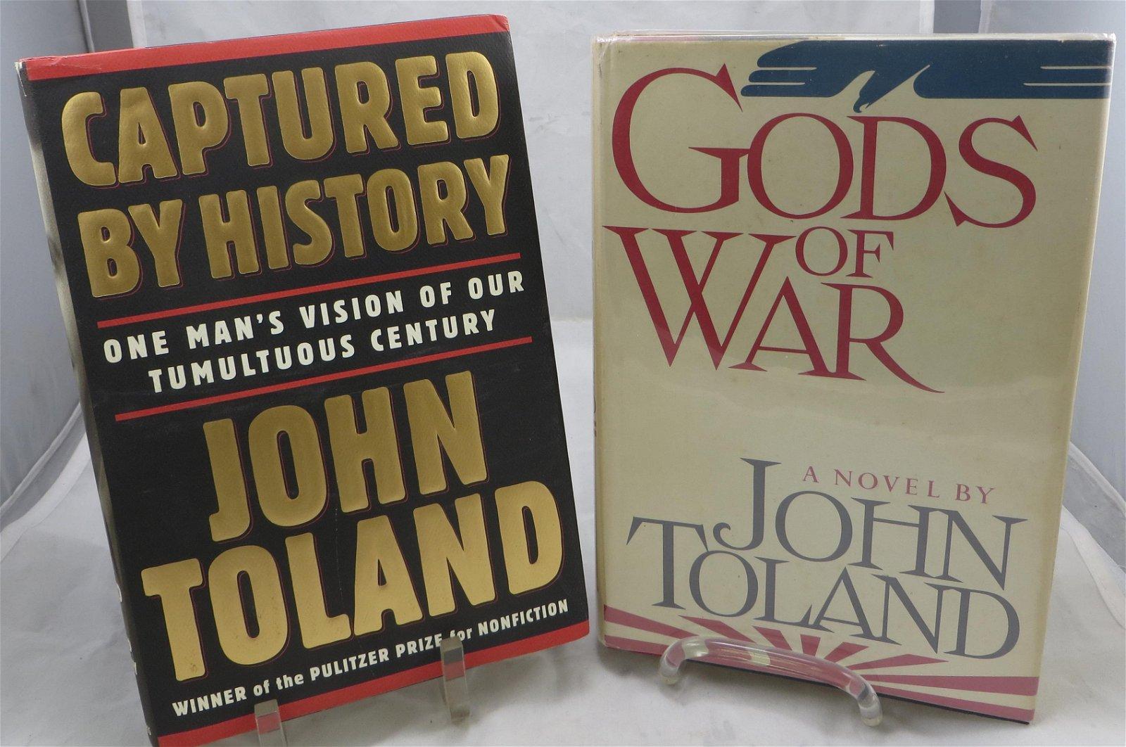 (2) SIGNED JOHN TOLAND WW2 THEME BOOKS
