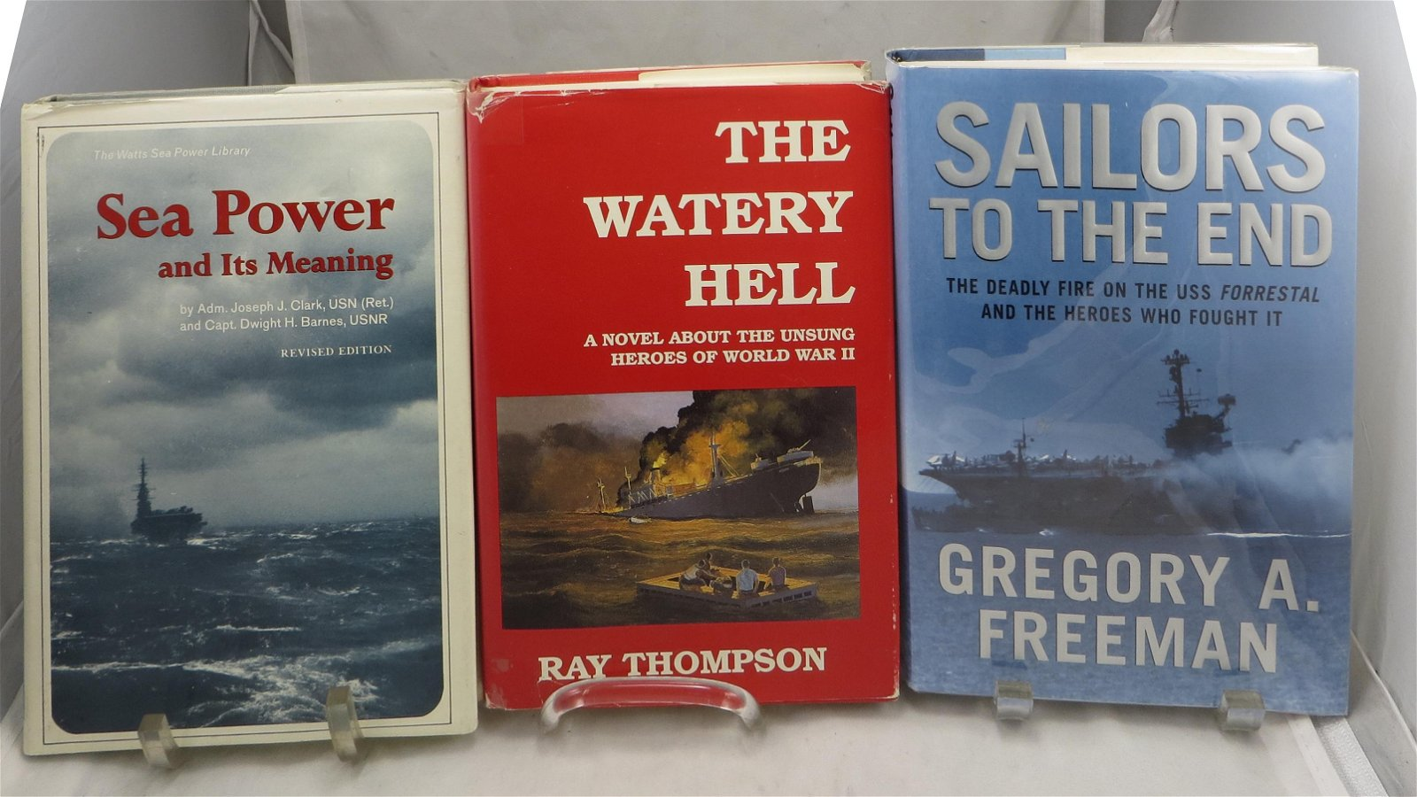 (3) SIGNED NAVAL RELATED BOOKS, MOSTLY WW2 - THOMPSON,