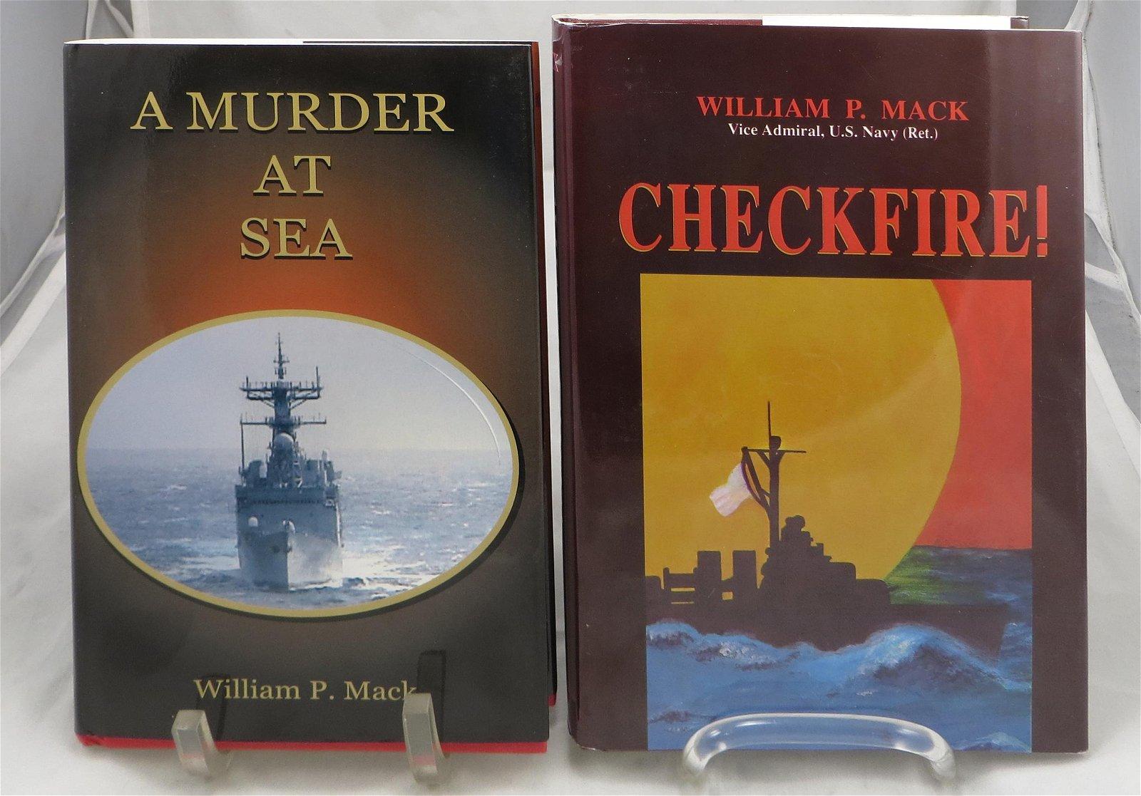 (2) WW2 THEME NOVELS, SIGNED -VICE ADM. William P. MACK
