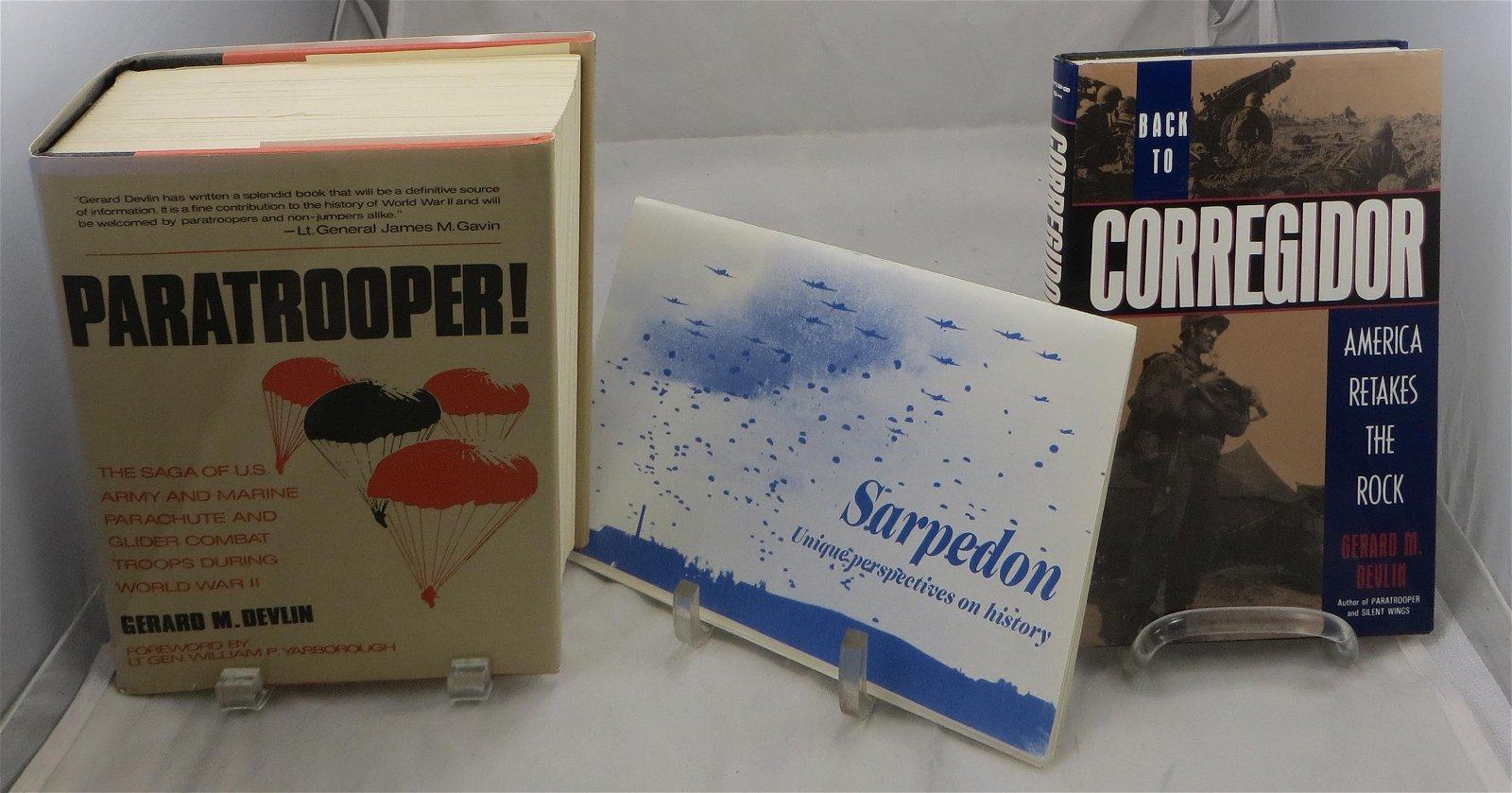 (2) WW2 BOOKS, SIGNED GERARD DEVLIN, PARATROOPER /