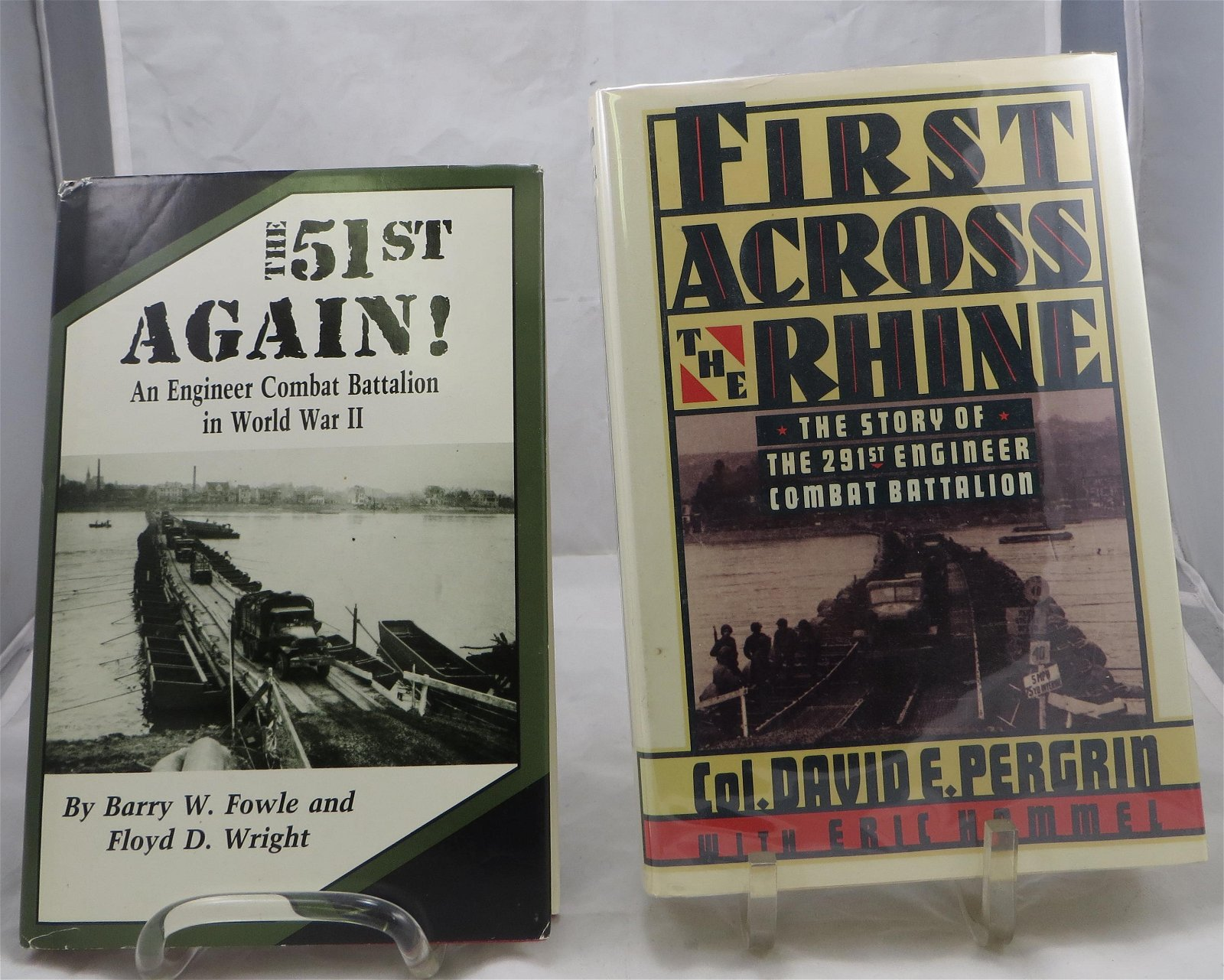 (2) WW2 BOOKS, ENGINEER COMBAT BATTALION THEME, SIGNED